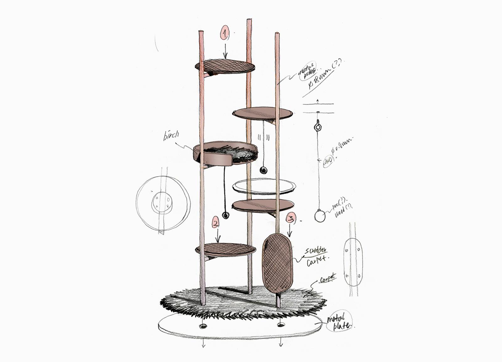 Modern Cat Tower for Milliong by Korean Designer Jiyoun Kim